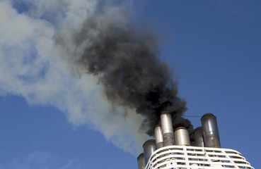 Ships funnel emitting black smoke