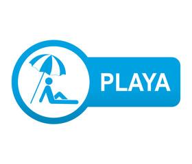 Etiqueta tipo app azul alargada PLAYA