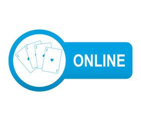 Etiqueta tipo app azul alargada casino online