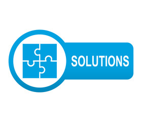 Etiqueta redonda azul alargada SOLUTIONS