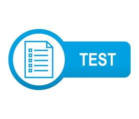 Etiqueta tipo app azul alargada TEST