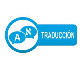 Etiqueta tipo app azul alargada TRADUCCION