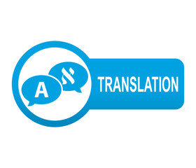 Etiqueta tipo app azul alargada TRANSLATION