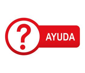Etiqueta tipo app roja alargada AYUDA