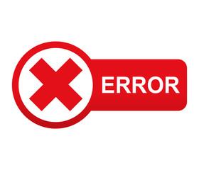 Etiqueta tipo app roja alargada ERROR