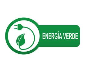 Etiqueta tipo app verde alargada ENERGIA VERDE