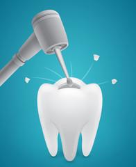 Boring human tooth