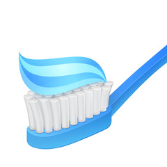 Blue toothbrush and toothpaste