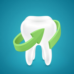 Green аrrow protected human teeth on blue background