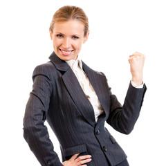 Happy gesturing businesswoman , on white