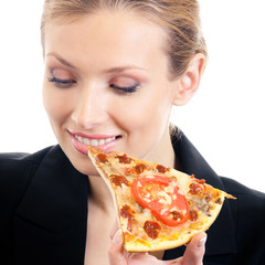 Businesswoman eating pizza, isolated