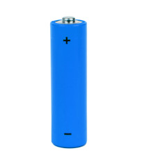 blue battery with positive and negative signs