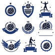 Volleyball labels and icons set. Vector