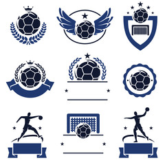 Handball labels and icons set. Vector