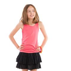 Cheerful girl looking away