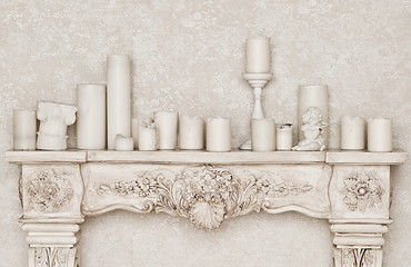 Vintage fire place with candle
