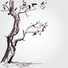 Old tree in Chinese style.