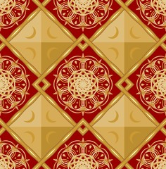 Luxury seamless background with gold geometric patterns