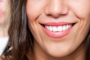 Macro close up of female smile
