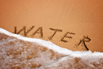 inscription water on the sand at the beach