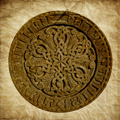 Medieval Armenian ornament on cross stone in grunge style