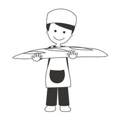 Panadero con barra de pan BN