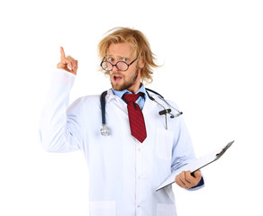 Funny doctor in glasses with notebook isolated on white