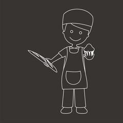 Panadero con pan y magdalena líneas fondo oscuro