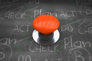 Composite image of orange push button