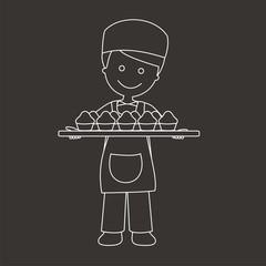 Panadero con bandeja de magdalenas líneas fondo oscuro