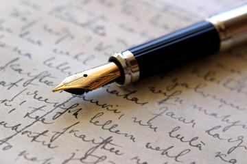 Fountain pen on handwritten paper