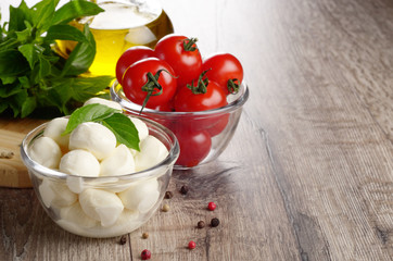Mozzarella, tomatoes and oil