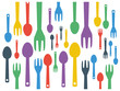 Colorful cutlery spoon and fork contemporary pattern vector