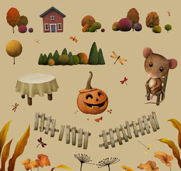 Objects and elements for autumn illustration
