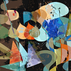 abstract background composition, with paint strokes, splashes, t