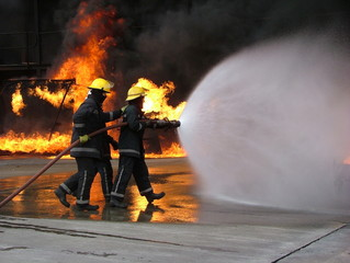 fire fighters at late fire