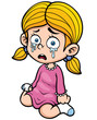 Vector illustration of Cartoon girl crying