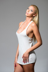 A studio shot of a beautiful and sexy girl