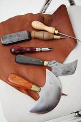 Sattler und Leder Werkzeuge