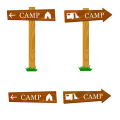 wooden camping sign vector illustration