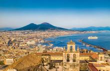 """Постер, картина, фотообои """"Aerial view of Naples (Napoli) with Mt Vesuvius at sunset, Italy"""""""