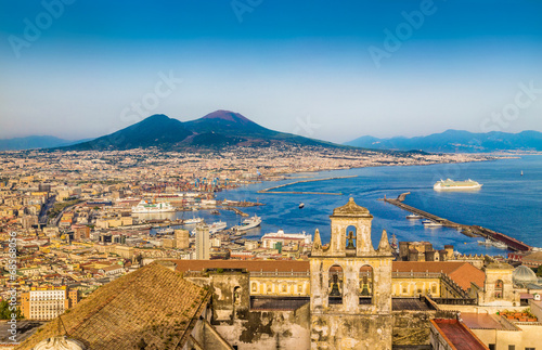 Foto Spatwand Mediterraans Europa Aerial view of Naples (Napoli) with Mt Vesuvius at sunset, Italy