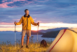 Hiker in a camp