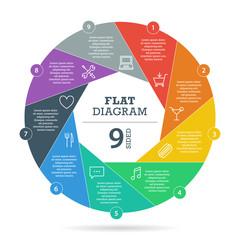 Colorfull flat shutter diagram vector business presentation