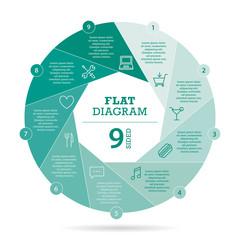 Flat shutter diagram vector template business presentation