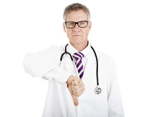 Serious Male Doctor Giving Thumbs Down Sign