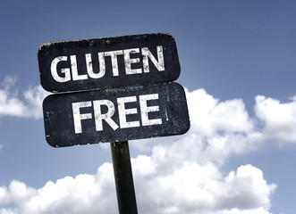 Gluten Free sign with clouds and sky background