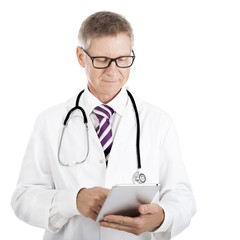 Doctor checking patient notes on a tablet-pc