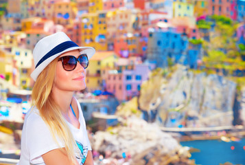 Traveler girl enjoying colorful cityscape
