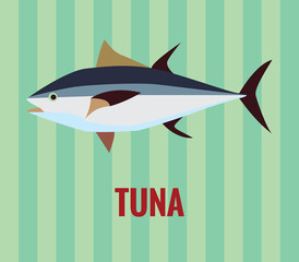 Tuna drawing on green background